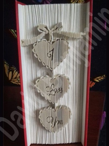 I Love You Hearts Cut and Fold Book Folding Pattern