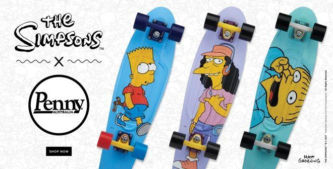 豪州発のプラスチック製のスケートボード「ペニースケートボード(Penny Skateboards)」が、米コメディーアニメ番組「ザ・シンプソンズ(THE SIMPSONS)」とコラボレーションした「ペニースケートボード×ザ・シンプソンズ」シリーズを発売した。オッシュマンズやムラサキスポーツをはじめ、全国のスケートやサーフ専門店、全国のペニースケートボード正規取扱店で販売されている。