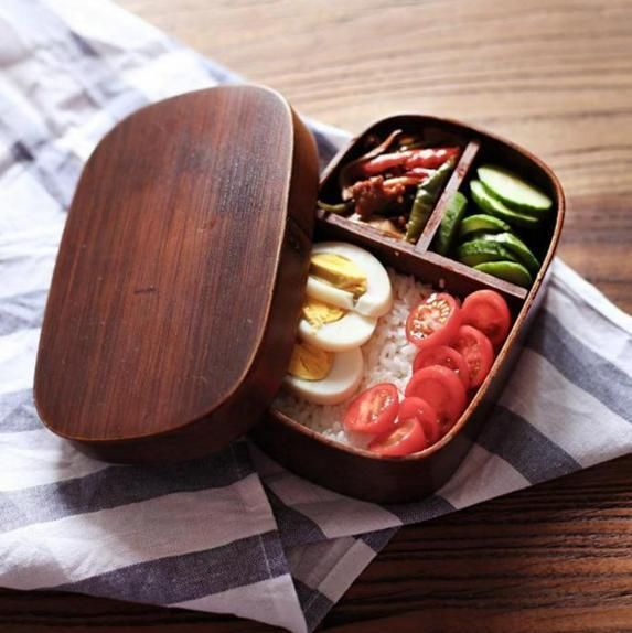 JAPANESE Bento lunch Box handmade Natural WooDeN Sushi BOX Container #Unbranded