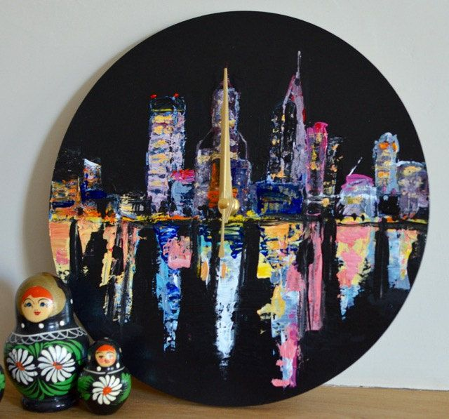 Nightlife Cityscape Wall Clock, Practical art clock, Non-ticking, Perth, Australia, night scene. Original art, Palate knife painting, Wood by ArtDecadance on Etsy