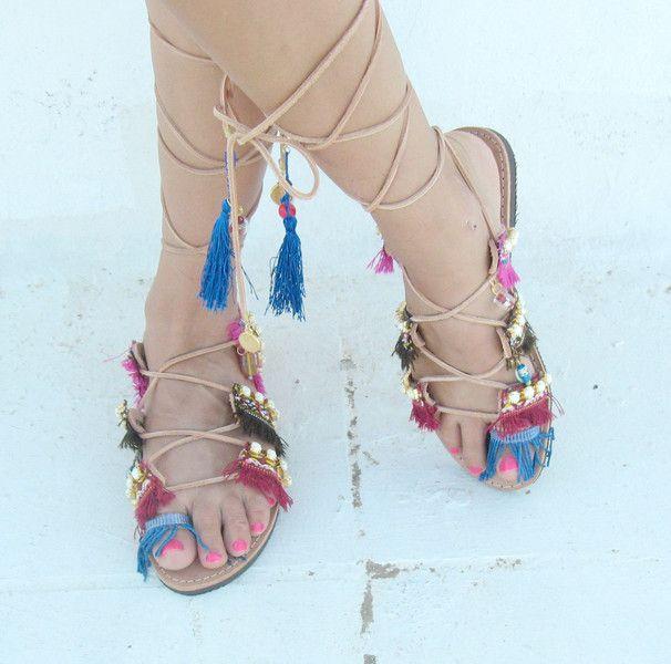 Sandals/Lace up sandals/Boho/ - JustBoho - Sandały