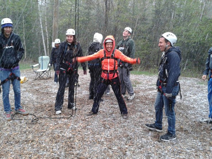 The high ropes course is awesome, regardlesss of the weather! #outdoors #BarkLake #fun