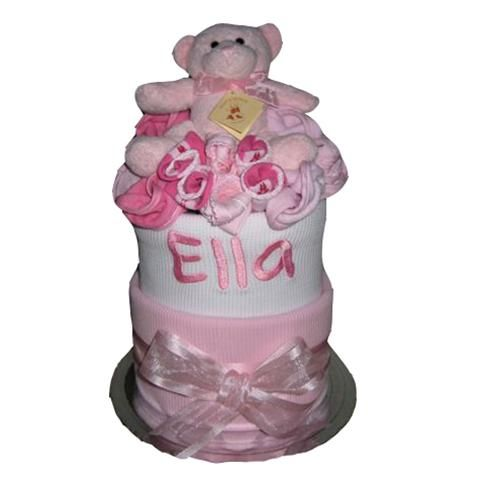 Personalised baby wrap nappy cake baby girl.