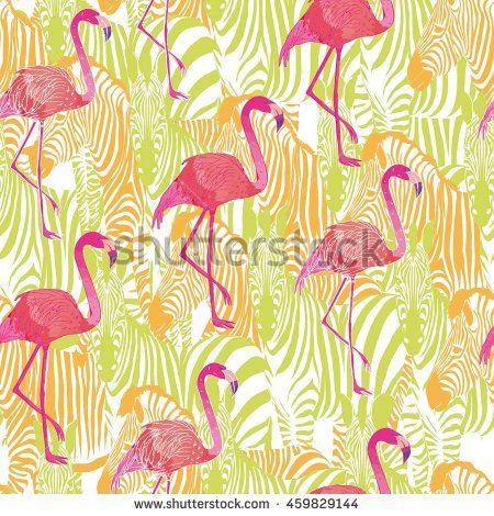 Фламинго и Зебра животных - векторные иллюстрации - векторного
