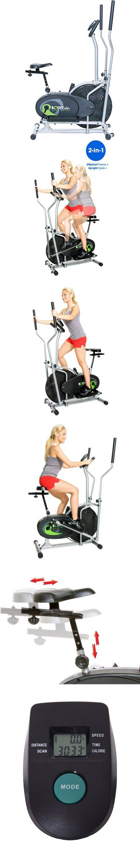 Dual Cardio Elliptical Trainer Fitness Exercise Cardio Workout Training Home Gym Equipment Comfortable, No-Impact 2 in 1 Fitness Machine Settings Elliptical Trainer Exercise Bike Use Electric Console