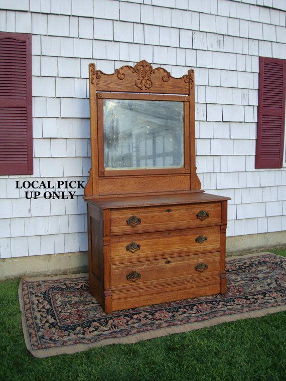 Antique Oak Dresser Chest Of Drawers With Mirror 1800s