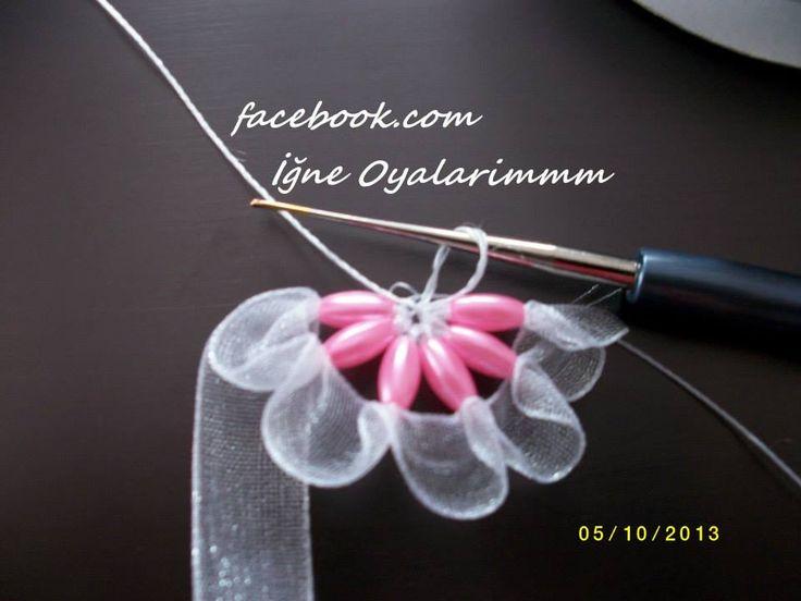 arpa boncuklu kurdele oya - Barley beaded lace ribbon - (tutorial in Turkish)