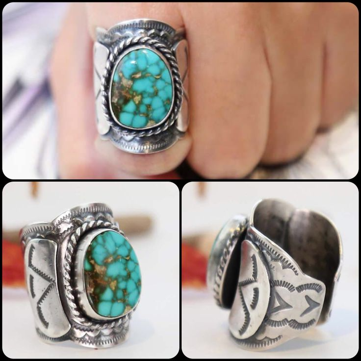 This shield ring features a beautiful brown matrix Natural Royston Turquoise with stunning green tone.  With hand stamped details, this shield ring makes itself a brilliant eye-catcher for your everyday wearing.  Light patina was applied to the whole piece along with a medium polish, which make the ring stand out even more.
