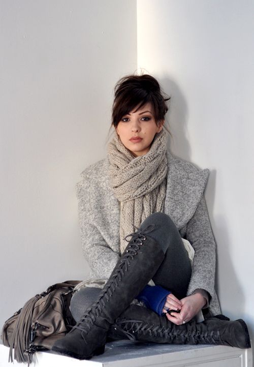 boots: Knee High, Style, Lace Up Boots, Outfit, Scarves, Bangs, Fall Boots, Scarfs, Chunky Knits