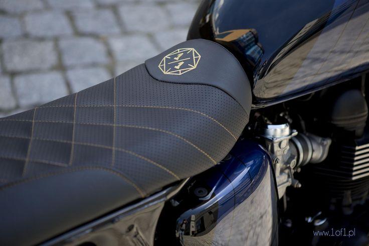 Handmade leather seat with Unikat Motorworks logo. Handmade leather seat with Unikat Motorworks logo.