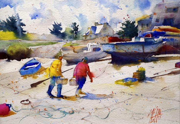 Seaside scenery in watercolor featuring two fishermen back from fishing.