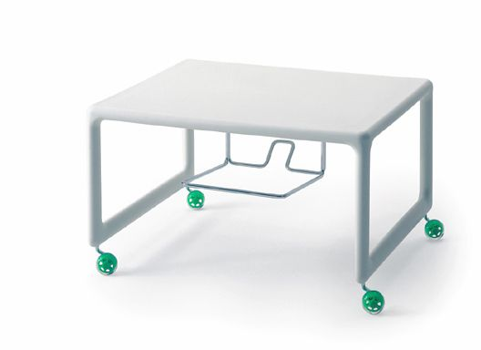 Low Air Table/TV & video trolley 2002 Gas injected polypropylene low table. Optional polyurethane wheels and chrome plated wire DVD/video rack. Produced by Magis, Italy. Photo: Walter Gumiero/Magis