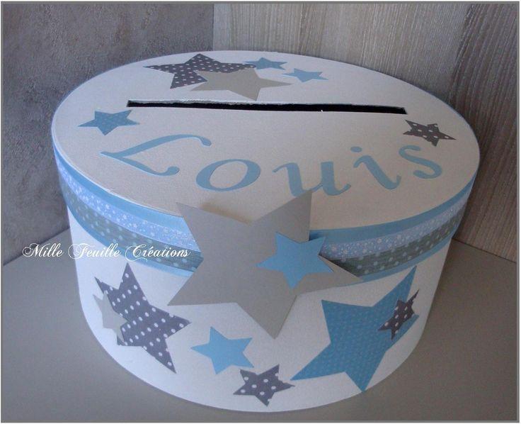 Urne baptême personnalisable thème étoiles - gris clair et bleu : Boîtes, coffrets par millefeuille-creations