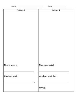 Hattie and the Fox - Mem Fox problem and solution worksheet