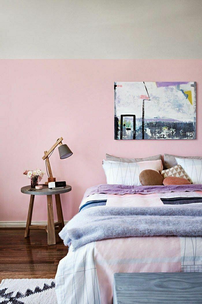chambre coucher de couleur pastel mur rose plafond blanc peintures murales - Peinture Pour Chambre Romantique Rose Pale Et Vert Deau