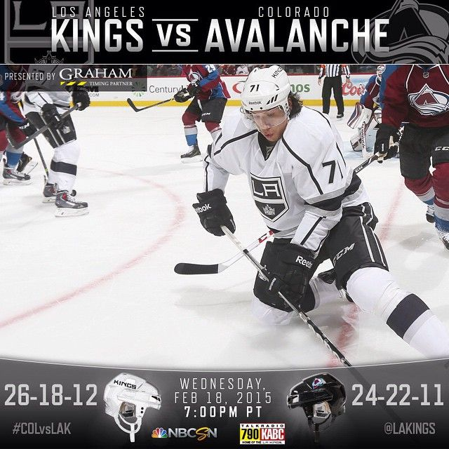 """""""The #LAKings take on the Colorado Avalanche tonight at 7:00 and they're looking to grab their 6th straight win. Catch the game live on NBC Sports Network!"""""""