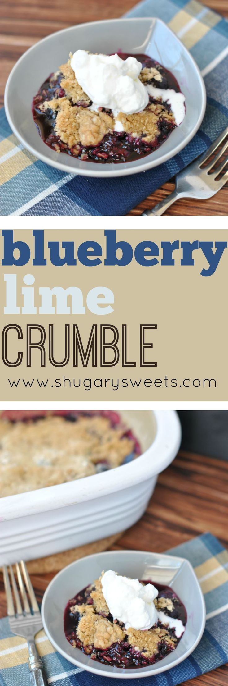 Fresh blueberries and lime create the perfect base to this Blueberry Crumble. I must admit though, it's that thick layer of crunchy sugar and oats that keeps me lifting my fork repeatedly. I served ours with homemade whipped cream, but of course ice cream is perfectly acceptable too!