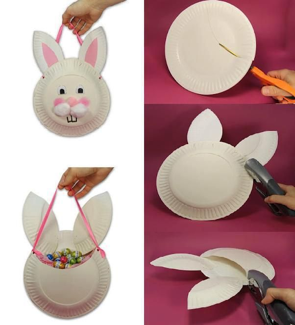 DIY Paper Plates Bunny Bag- except not a bunny and call it a prayer pouch...