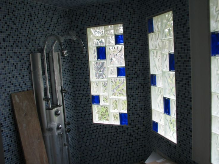glass block walls in bathrooms | glass block sizes combined in a colored and clear bathroom window ...