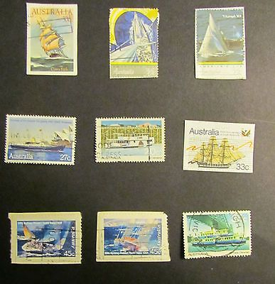 Austrailian Postage Stamps 9 Used on paper with Boats as the theme