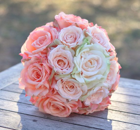Peach Rose Ombré Wedding Bouquet Peach Rose by Hollysflowershoppe