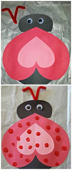 Heart Ladybug Valentines Day Card Craft For Kids #DIY Valentines kids art project #Hearts | CraftyMorning.com