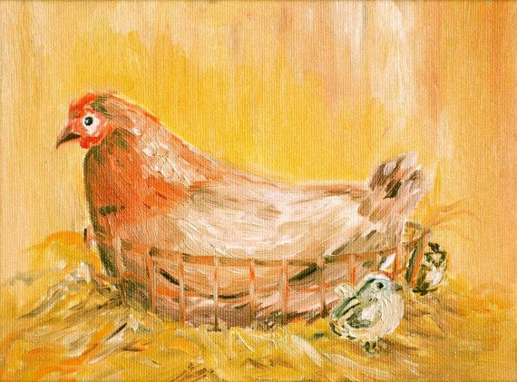 Chicken Print  Original Print  Limited Edition by KubuHandmade