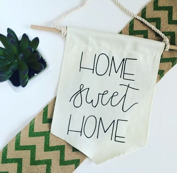 Home Sweet Home Canvas Banner by EdenAndEmeralds on Etsy