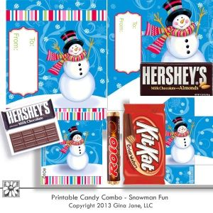 Adorable Snowman Candy Bar Wrappers for Hershey, Rolo, Kit Kat, Snickers, and Starburst. -- Print your own DIY Christmas treats, Stocking Stuffers, holiday party favors, gift basket filler - candy bars with Snowmen on them... Gina Jane formerly with PcCrafter and Provo Craft... now at DAISIE COMPANY: Printable Digital Paper Crafts, Clipart, Scrapbooking, Stamp, Party - DaisieCompany.com