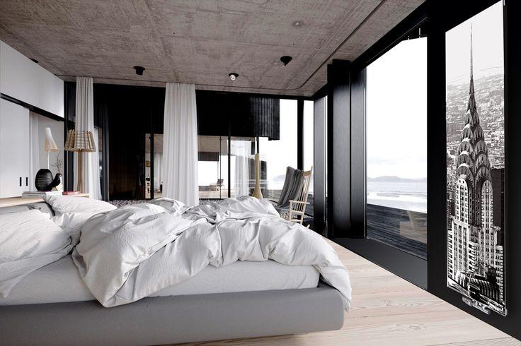 industrialna sypialnia z grzejnikiem szklanym Nova Glass od Radox Radiators. motyw: manhattan