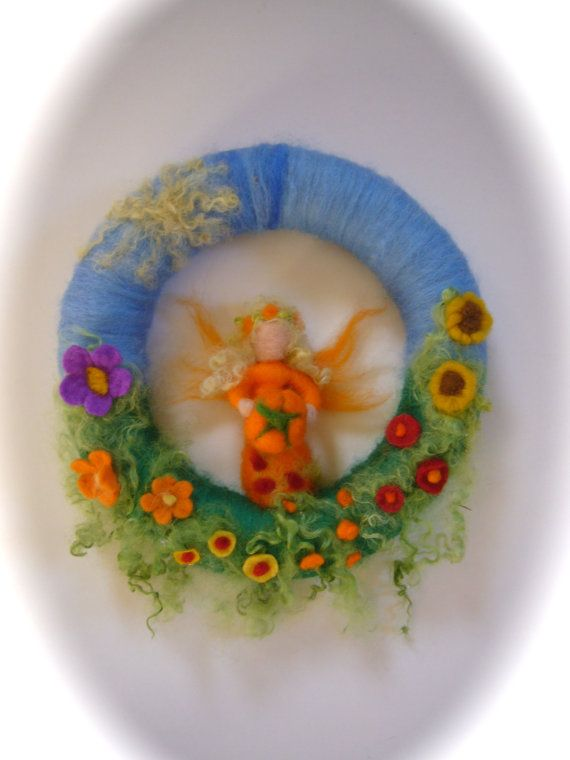 Late sommer Wreath. Fairy.Elf.  Needle Felted. by FilzArts on Etsy, $42.50