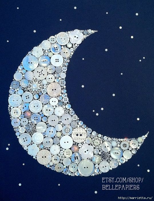 White crescent moon on blue background. Button art