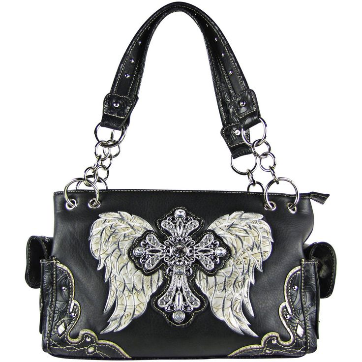 SILVER RHINESTONE CROSS WITH WINGS LOOK SHOULDER HANDBAG CONCEALED CARRY PURSE | Clothing, Shoes & Accessories, Women's Handbags & Bags, Handbags & Purses | eBay!