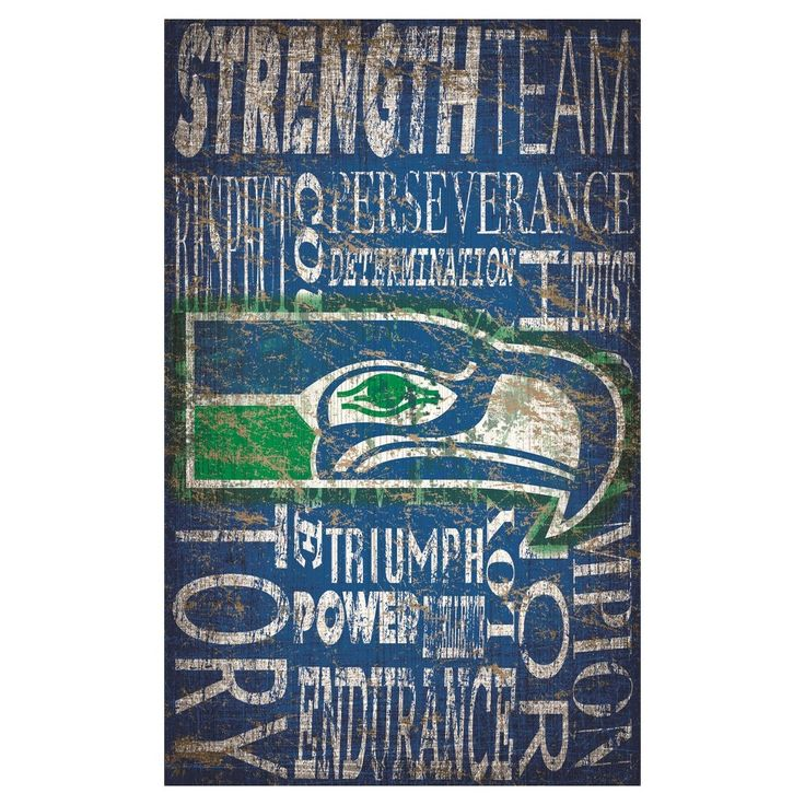 "NFL Seattle Seahawks Heritage Word Collage 11"" x 19"" Sign"