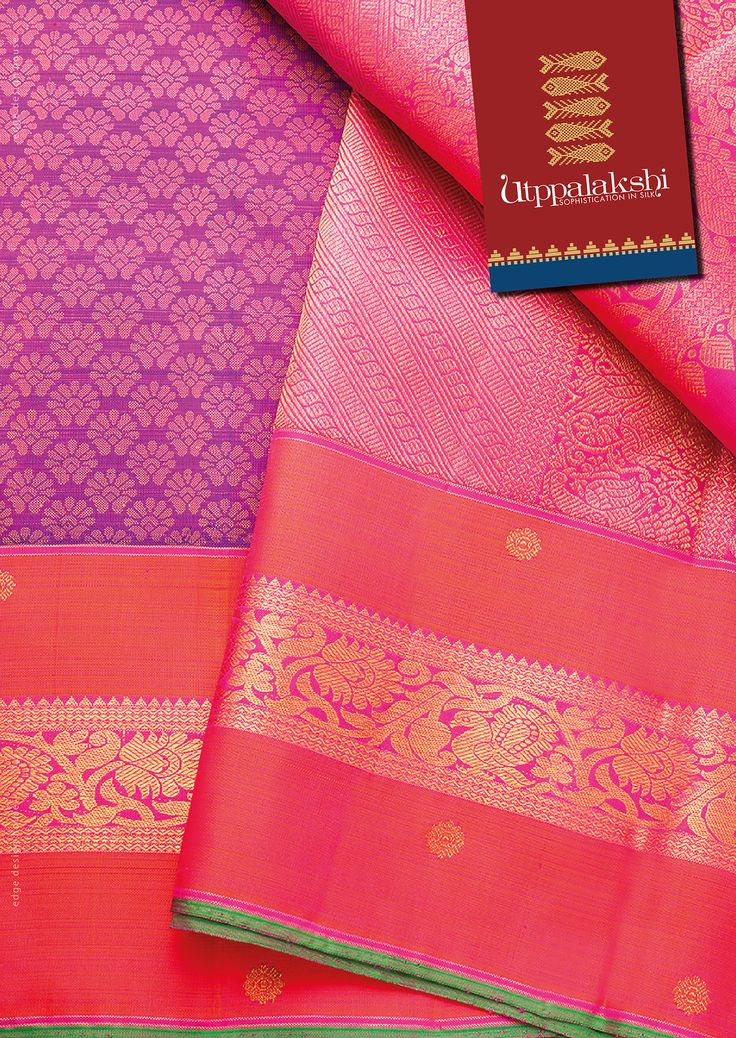 Exquisite Utpaddah saree, with Annapakshi motifs in the border The purple body…