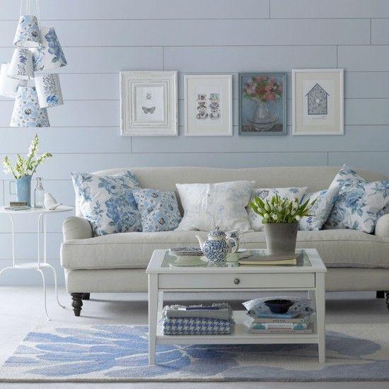 Floral Blue Living Room Diese Farbpalette In Frischem Blau