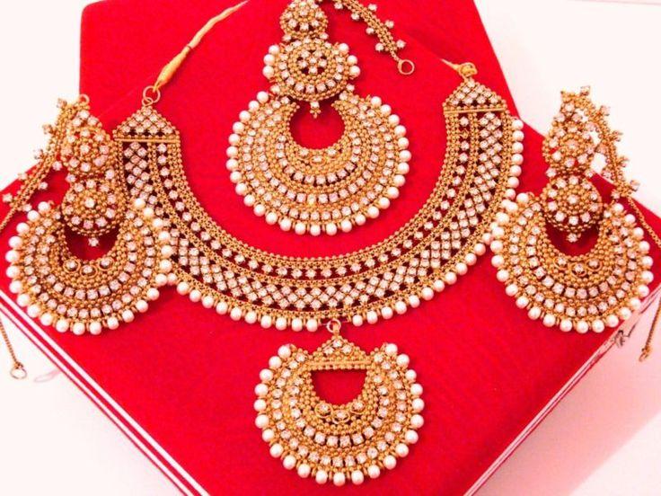 Bollywood Bridal Engagement Wedding Set Pakistani Indian Necklace Earrings