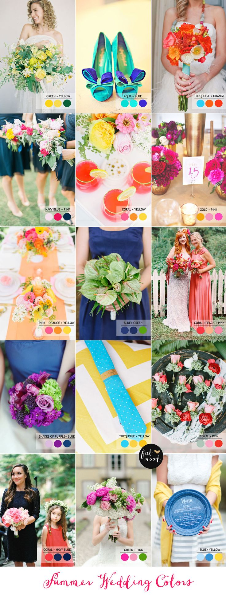 15 Fabulous Summer wedding Color Combos : SUMMER WEDDING COLORS | Read more : https://www.fabmood.com/fabulous-summer-wedding-color-combos: