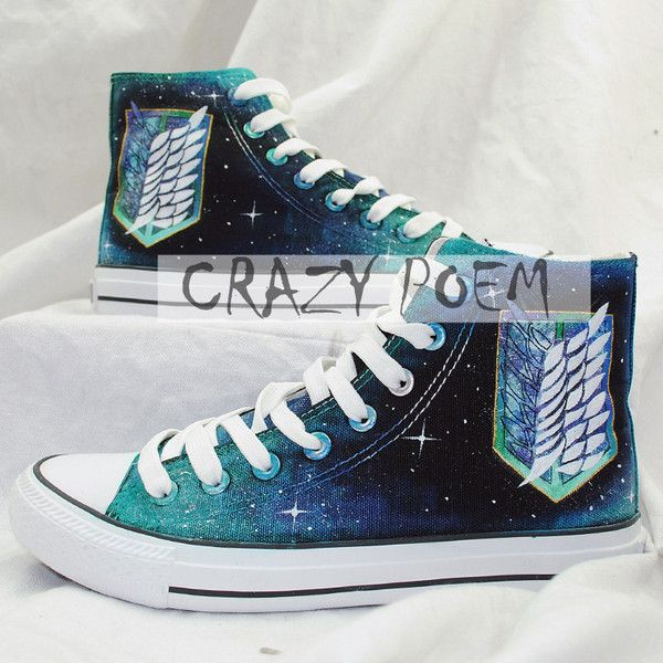 Attack on Titan with Galaxy Background Hand Painted Shoes Black Canvas... ($60) ❤ liked on Polyvore featuring shoes
