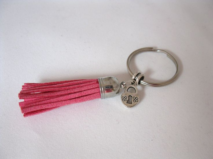 Pink Tassel Key Ring Faux Suede Keychain Pink Bag Charm by BunnaAndDooDesigns on Etsy