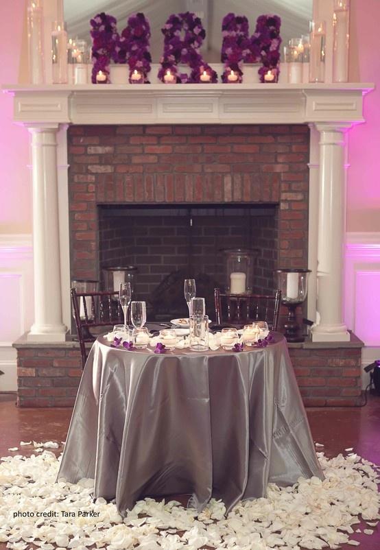 sweetheart table decor for a purple lavender u0026 silvergrey wedding custom flower - Table Decor