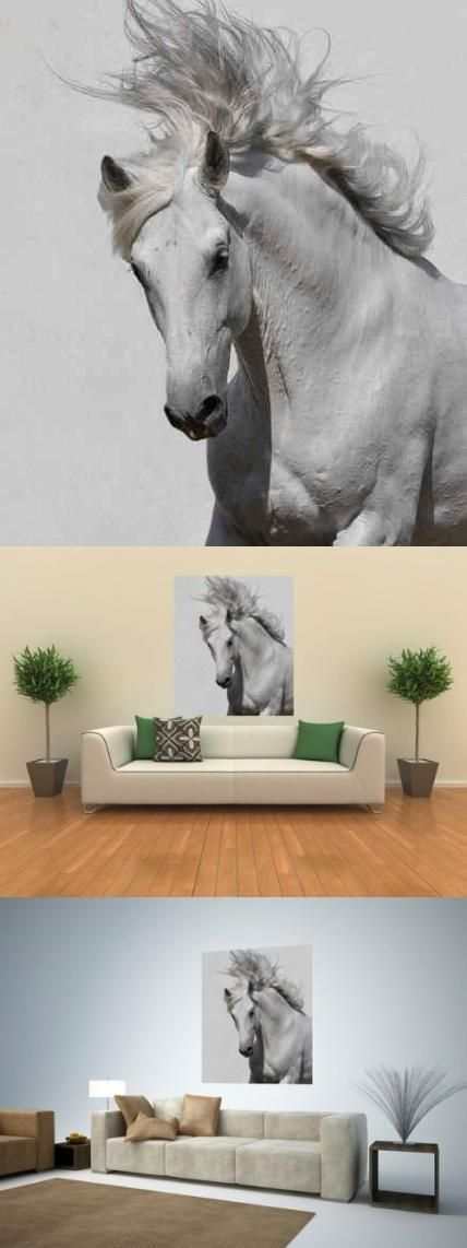 White Horse - 36H x 31W - Peel and Stick Wall Decal by Wallmonkeys ALL orders CUSTOM printed. When you place an order, the image is made in the USA, just for you!. Printed on WHITE, premium, self-adhesive, re-positionable fabric paper.. No nails, frames or glue. No professional installation required.. Simply peel and stick! Easy to remove and re-apply.. BE SURE you ordered the right size for you... #Wallmonkeys_Wall_Decals #Home
