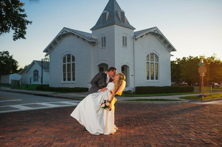 Portrait Of Bride And Groom During Sunset Outside The White Chapel