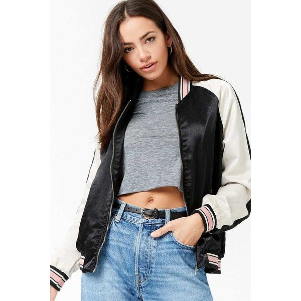 Forever21 Colorblock Satin Bomber Jacket (46 BRL) ❤ liked on Polyvore featuring outerwear, jackets, black, forever 21 jackets, long jacket, flight jackets, zip front bomber jacket and lightweight bomber jacket