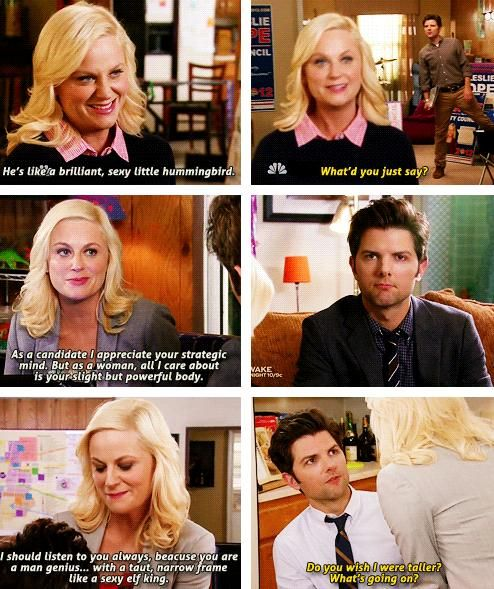 """sexy little hummingbird."" Ben and Leslie, Parks and Recreation"