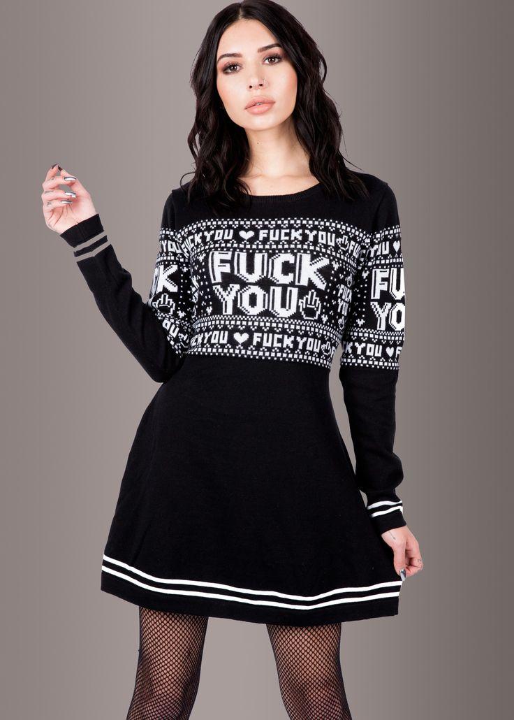 Sourpuss F You Skull Sweater Dress