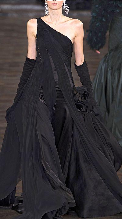 Ralph Lauren stunning black evening gown with black gloves #black formal evening dress