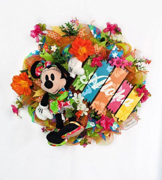 Disney Wreath Minnie Wreath Disney Summer by SplendidHomecrafts