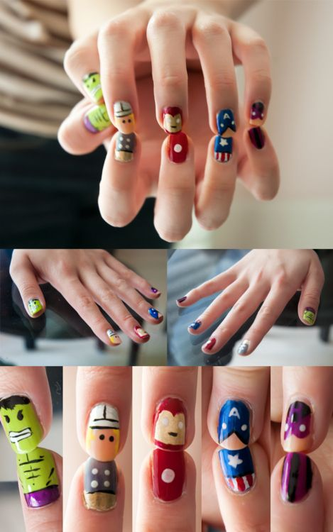 31 Images Of Gorgeously Geeky Nail Art... I did these Avengers nails, and they turned out SUPER CUTE!