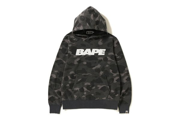 BAPE COLOR CAMO DAMAGE WIDE PULLOVER HOODIE BLACK. #bape